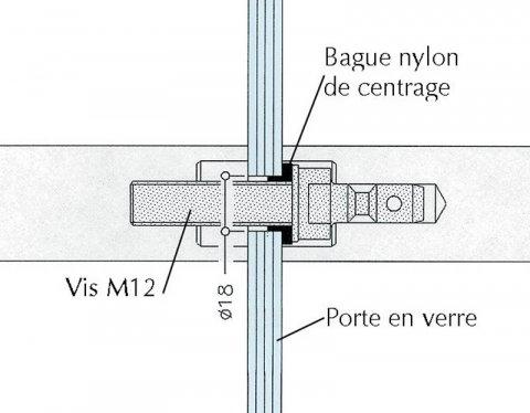 Mat riel de montage poign e nylon porte verre 8 18 mm d jeuner au jardin - Poignee de porte en verre ...
