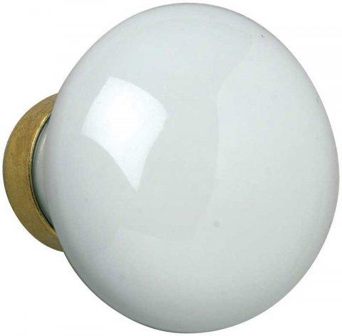 Bouton de fen tre simple porcelaine blanche rond 7 mm - Poignee de porte ronde en bois ...