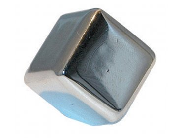 Bouton cube chromé section 23 x 23 mm